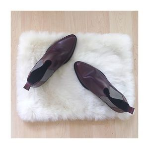 NWOT Deep Burgundy Leather Ankle Boots